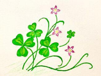 vẽ cỏ 3 lá hoạ tiết trang trí bìa sổ